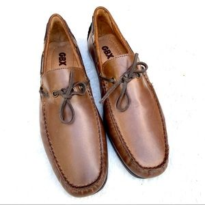 GBX Henley Brown Leather Slip On Loafer Boat Shoes